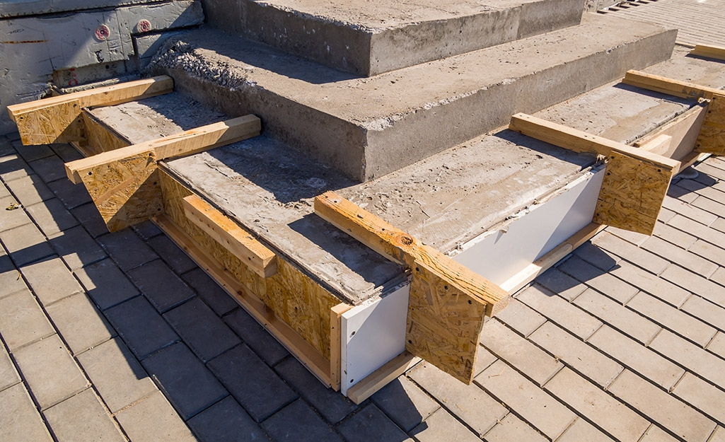 How To Repair Concrete Steps The Home Depot | Replacing Concrete Steps With Wood | Stringers | Stair Railing | Composite Decking | Pouring Concrete | Concrete Slab