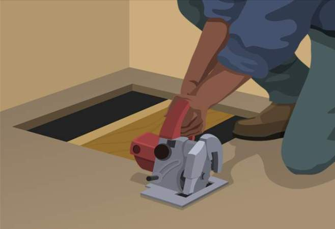 How to Remove Ceramic Tile at The Home Depot Cut the subfloor   Removing Ceramic Tile