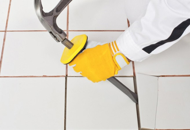 How to Remove Floor Tiles at The Home Depot Remove and replace a damaged tile in your floor without compromising intact  tiles