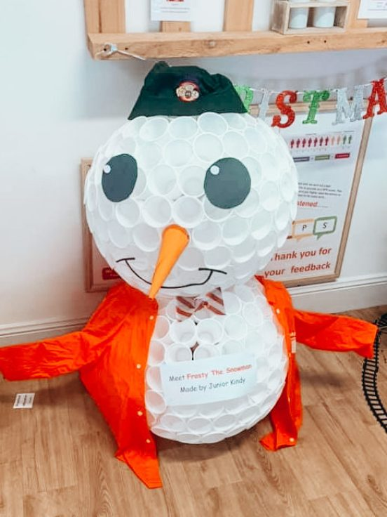 cute snowman made with cups