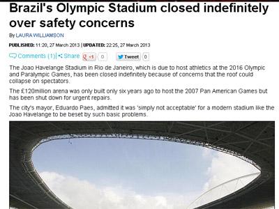 O Daily Mail também noticia a interdição do estádio de 2016