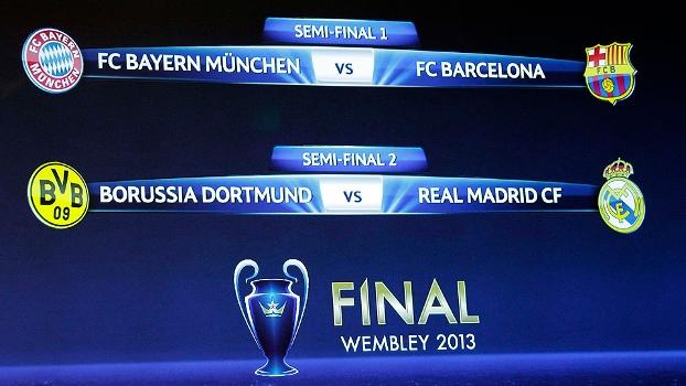 Sorteio define os duelos das semifinais da Champions League: Bayern de Munique x Barcelona e Dortmund x Real Madrid