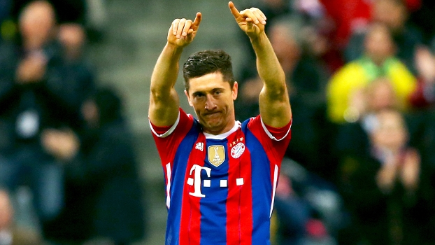 Lewandowski Comemora Gol Bayern Borussia Dortmund Campeonato Alemão 01/11/2014