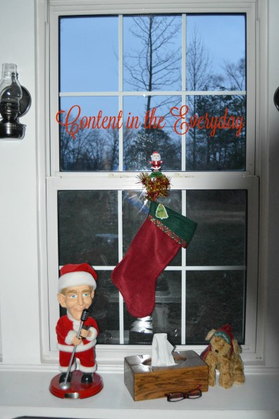Christmas Stocking hanging in the window