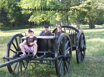 Kids pretending to ride in wagon