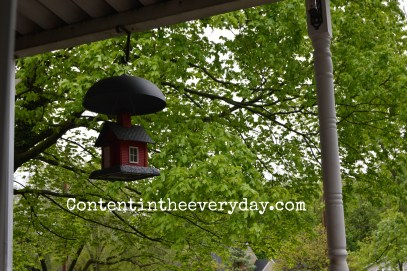 School house bird feeder surrounded by trees