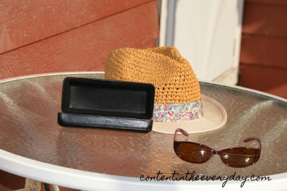 Summer hat, sunglasses, and glasses case