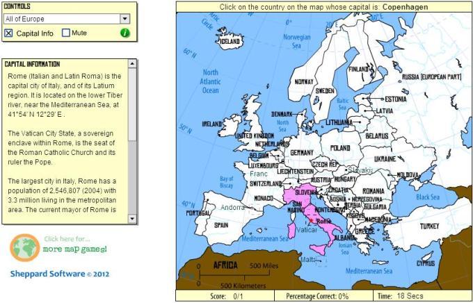 Europe Map Quiz Game Sheppard Software | Games World