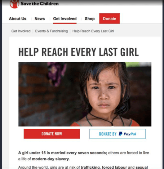 save-the-children-landing-page-uk-example