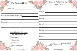 follow your dreams, pursue your dreams, inspiration, printable worksheet, checklist