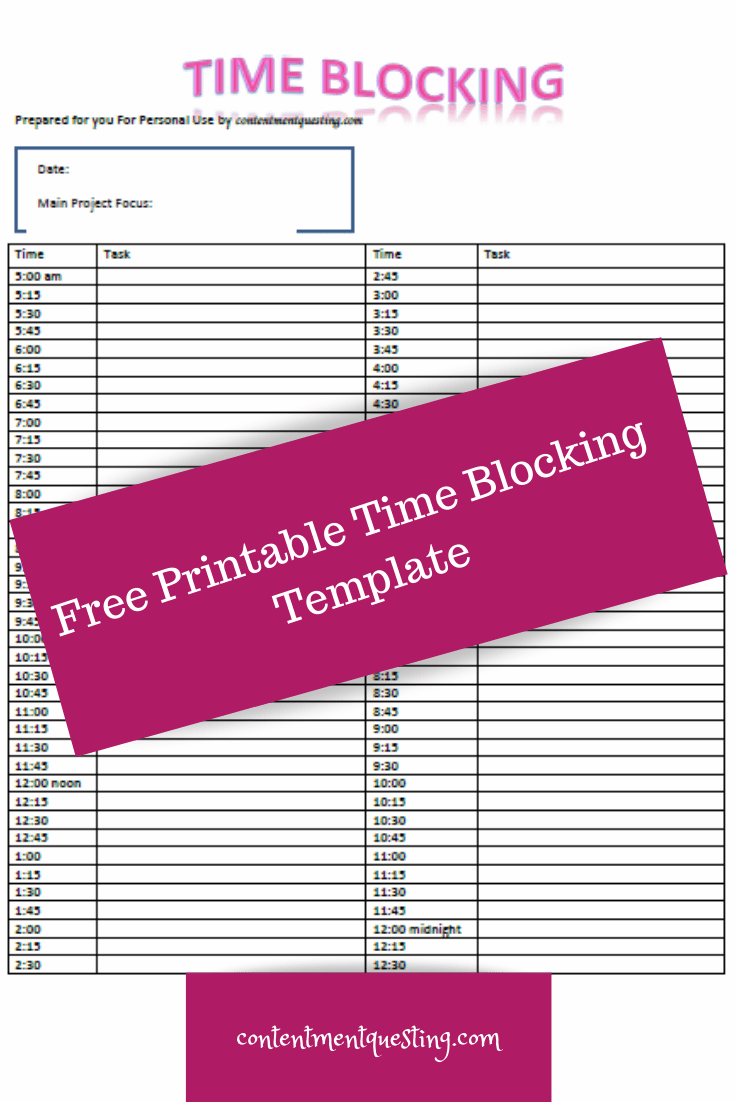 Free simple time blocking template to boost your productivity and help you get more done in less time. #timeblocking #timeblockingtemplate #productivity #getmoredoneinlesstime #productivityboost #contentmentquesting