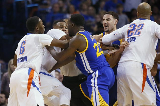 Thompson, Curry outscore Thunder starters as Warriors prevail in another scuffle-marred blowout