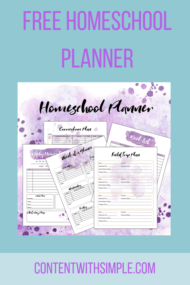 picture about Freebie Planner called Homeschool Planner Freebie - Materials With Very simple