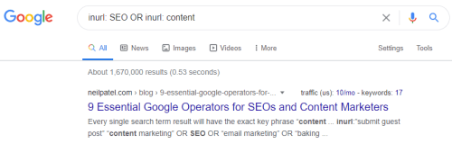 Finding the keyword with OR