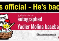 St. Louis Post-Dispatch Hes Back Yadi Autographed Ball Sweepstakes