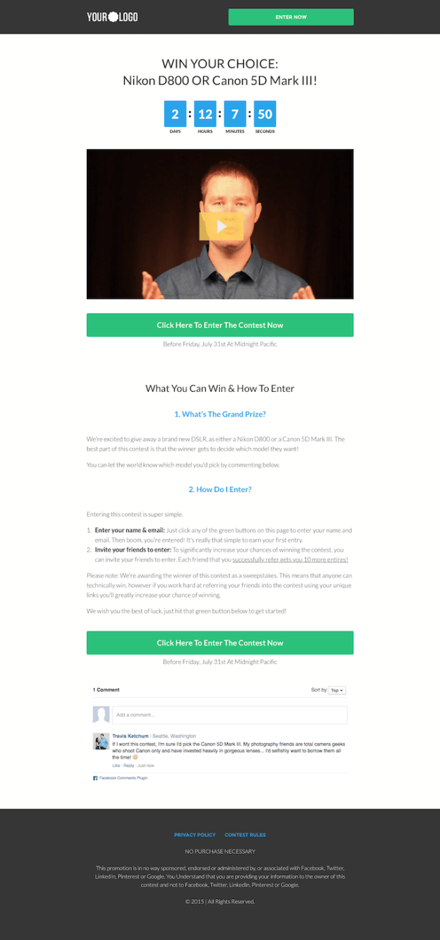 LeadPages Contest Opt-in