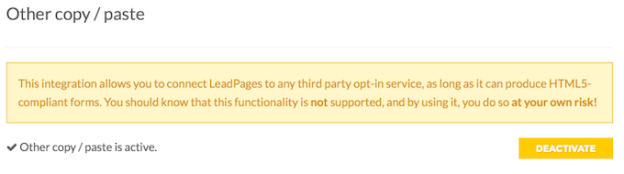 LeadPages Enable HTML