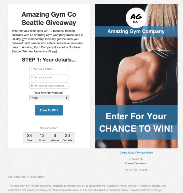 Fitness Contest Example