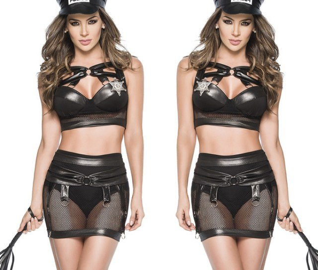 Wish New Sexy Mesh Faux Leather Cop Costume Erotic Cosplay Latex Lingerie Women Police Nightclub Pu Leather Tops Fetish Bondage Skirt