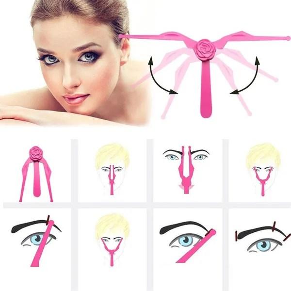 New Foldable Diy Eyebrow Template Eyebrow Shape Stencils Eyeliner Beauty Ruler