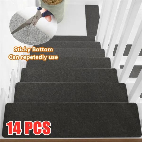 14Pcs Set 50 20 2Cm Stair Treads Anti Slip Carpet Stair Treads | Anti Slip Carpet For Stairs | Slip Resistant | Indoor Stair | Skid Resistant | Self Adhesive | Bullnose Carpet