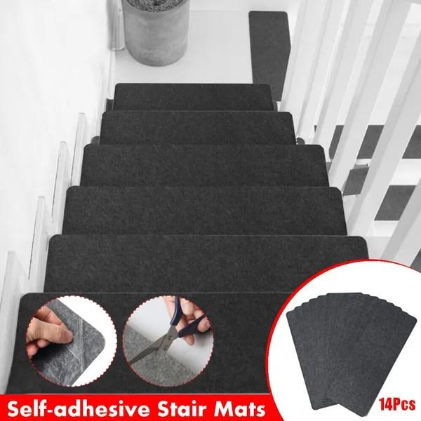 14Pcs Self Adhesive Stair Treads Non Slip Carpet Step Mats Rug | Non Slip Stair Treads Carpet | Self Adhesive | Slip Resistant Rubber Backing | Step | Semi Circle | Adhesive Padding