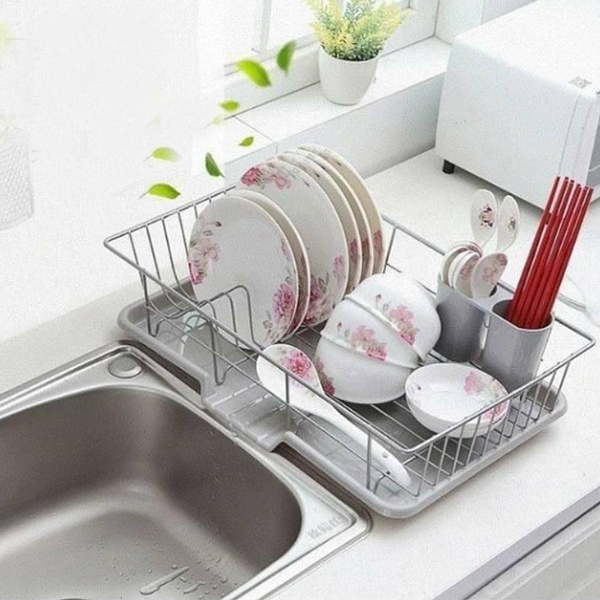 large dish drainer metal wire cutlery