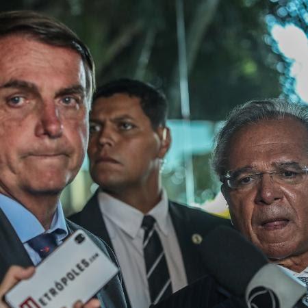 O presidente Jair Bolsonaro, e o ministro da Economia, Paulo Guedes, concedem entrevista em Brasília - Gabriela Biló/Estadão Conteúdo