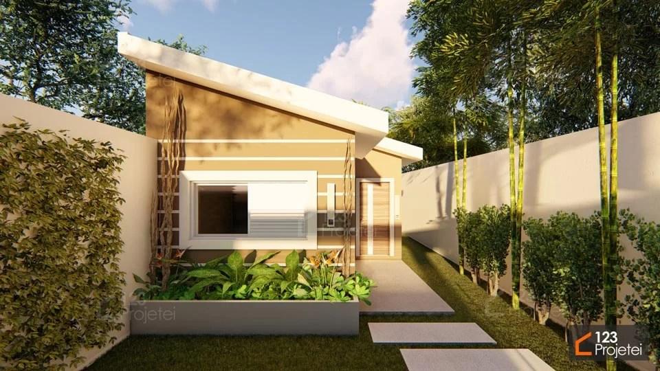 Read more about the article Casa geminada para terrenos compactos e com dois quartos é na 123Projetei