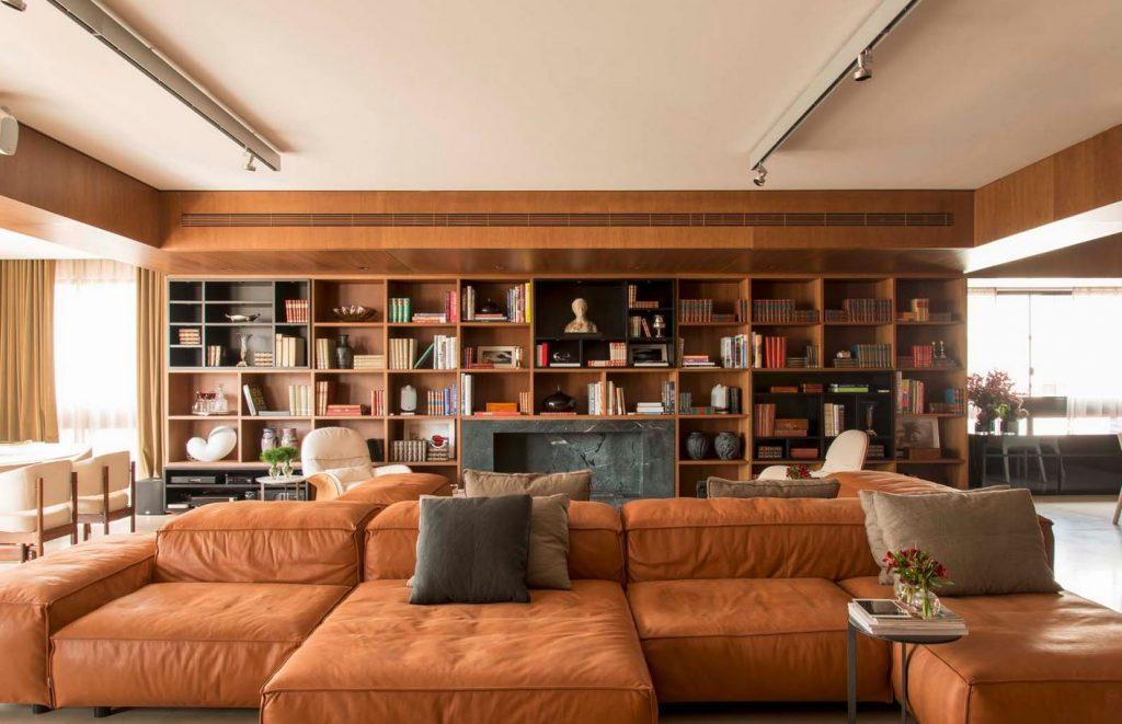 Resultado de imagem para sala de estar com estante decorada