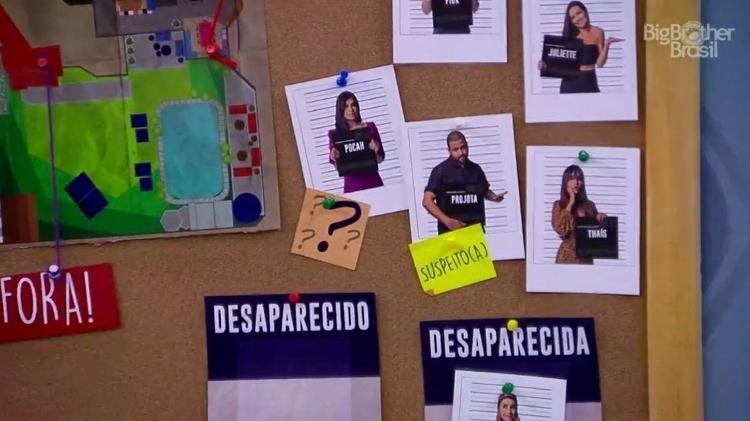 """BBB 21: Carla dá placa de """"suspeito"""" para Projota e interrogação para Pocah - Reprodução/ Globoplay - Reprodução/ Globoplay"""