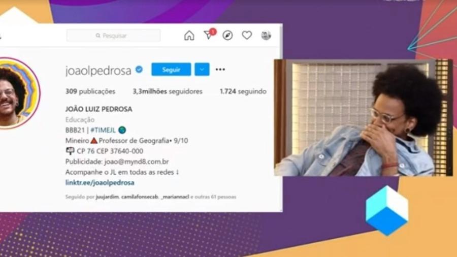 BBB 21: João fica chocado com o número de seguidores nas redes sociais - Reprodução/ Globoplay