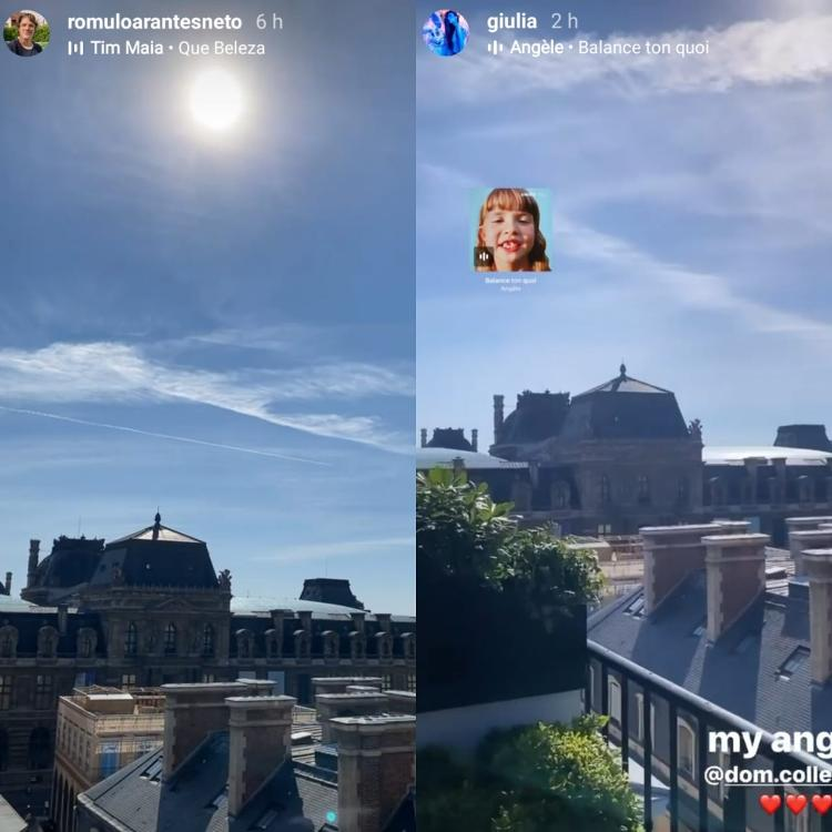 Giulia Be and Romulo Arantes Neto post stories about the same landscape in Paris - Reproduction/Instagram - Reproduction/Instagram