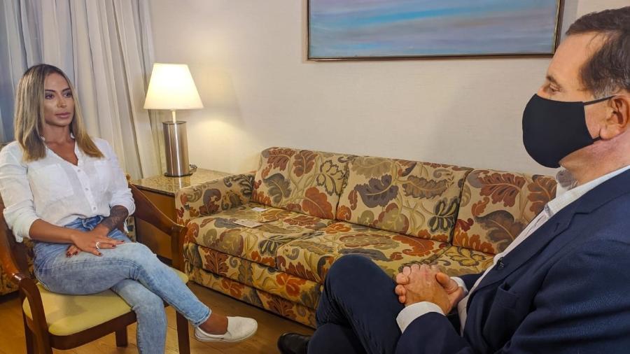 Bianca Dominguez estava com MC Kevin na hora da queda - Divulgação / Record TV