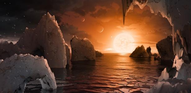 'exoplaneta descoberto' é o doodle do google que você verá hoje 'Exoplaneta descoberto' é o Doodle do Google que você verá hoje 21fev2017   ilustracao mostra como seria possivel ver os outros exoplanetas do sistema no ceu 1487714475570 615x300