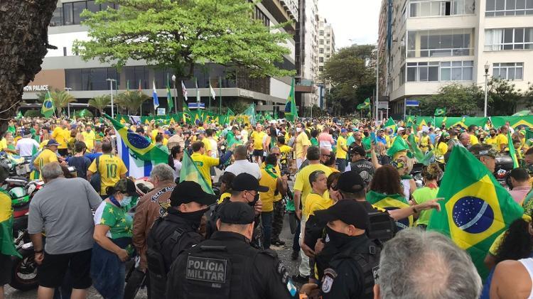 Sept.7.2021 - Pro-Bolsonaro demonstrators gathered in an act in Copacabana, Rio de Janeiro - Marcela Lemos/UOL - Marcela Lemos/UOL
