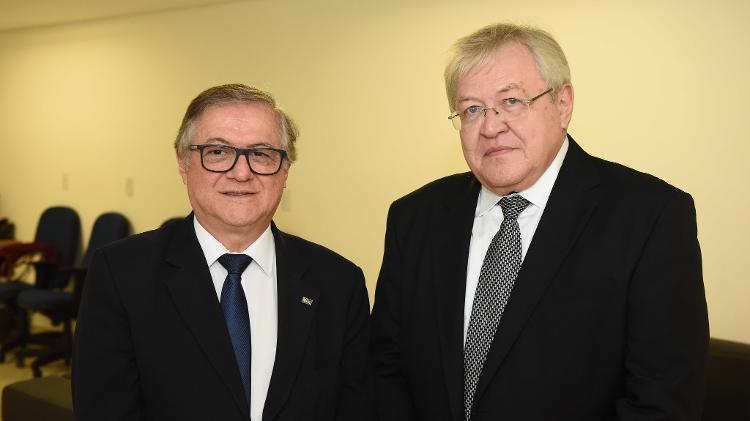O ex-ministro da Educação Ricardo Vélez Rodríguez e o ex-presidente do Inep Marcus Vinicius Rodrigues - Luis Fortes/MEC - Luis Fortes/MEC