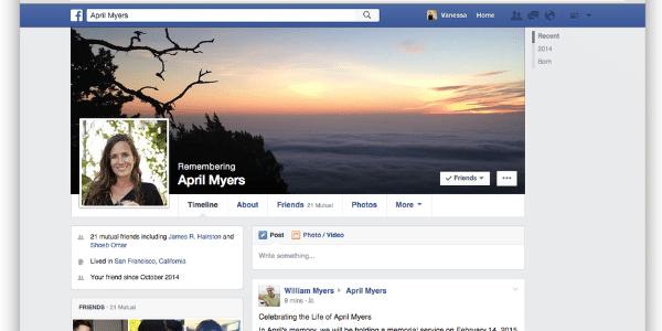 Conta memorial do Facebook