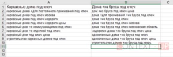 Ключевые слова по направлениям в Excel