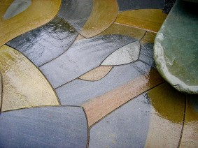 Eric Contey Stonework - intricate fit patio detail, with bench