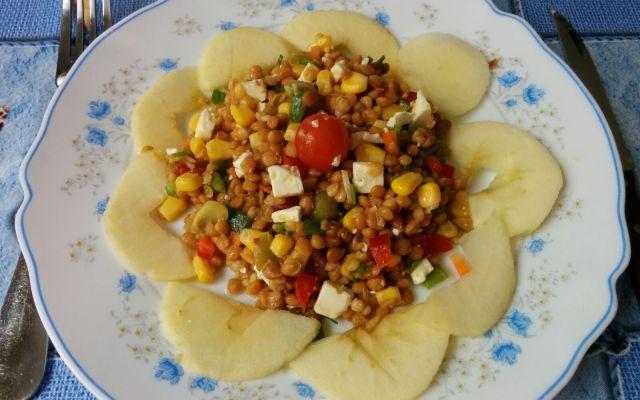 Lentellas con hortalizas e mazás