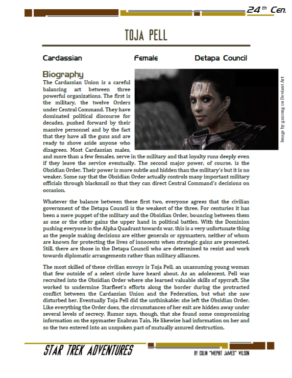 Toja Pell - Cardassian Diplomat - Preview