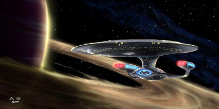 003 USS Enterprise-D Around Rings - Star Trek TNG_Dan_Voltz_Social_Media