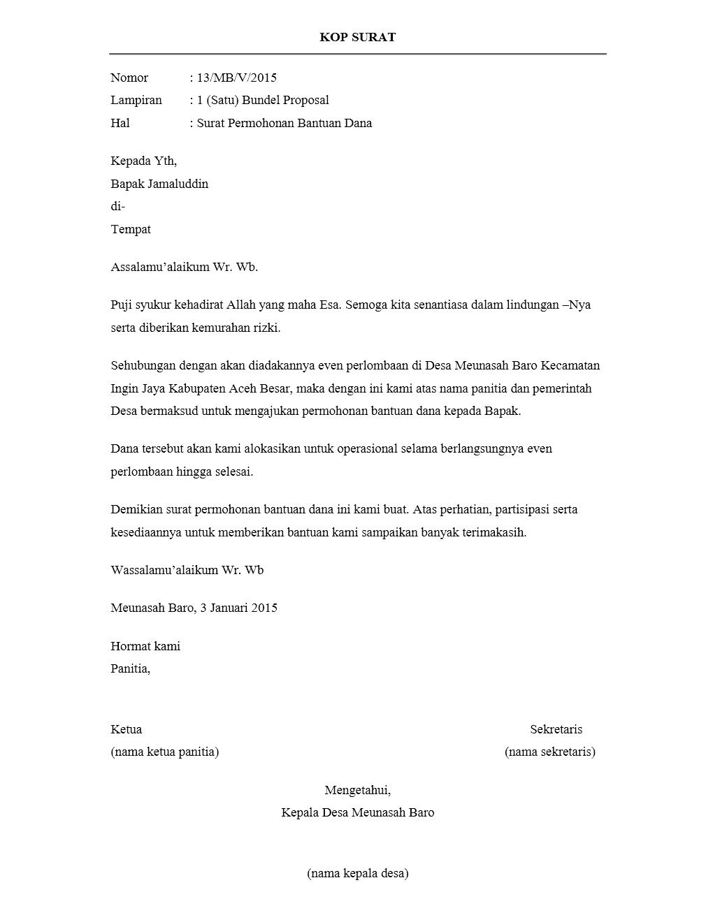 Contoh Surat Proposal Donatur Download Kumpulan Gambar