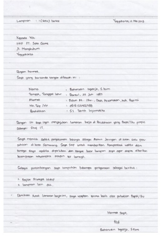 7 Contoh Surat Lamaran Kerja Tulis Tangan Yang Baik Dan