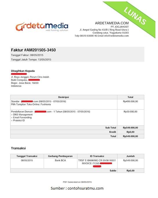 contoh invoice pembayaran yang baik dan benar perorangan