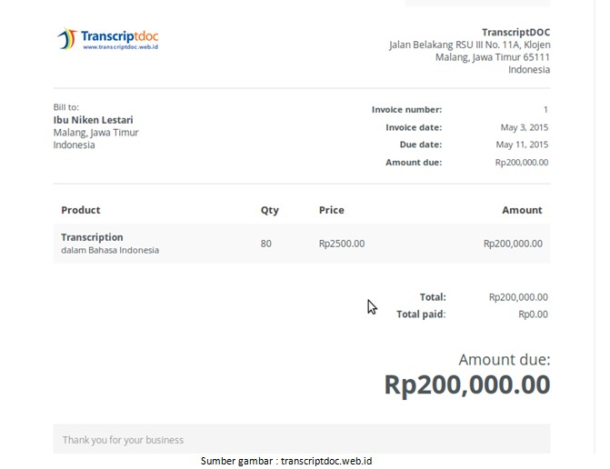 10 Contoh Invoice Atau Faktur Tagihan Jasa Barang