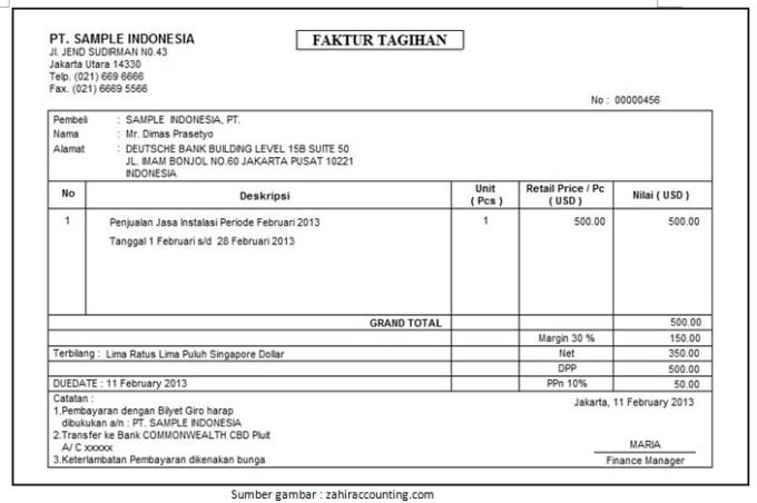 contoh invoice pembayaran sederhana