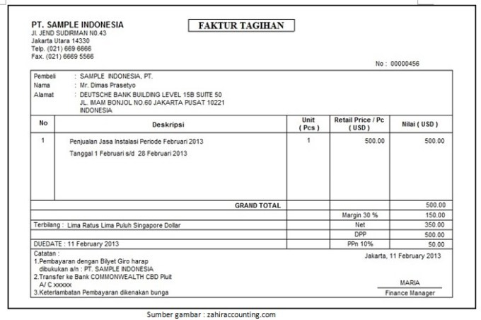 Contoh Format Invoice Guru Ilmu Sosial