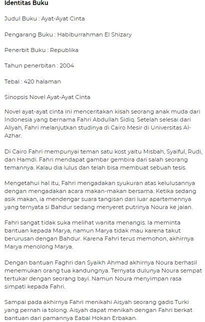 Contoh Resensi novel